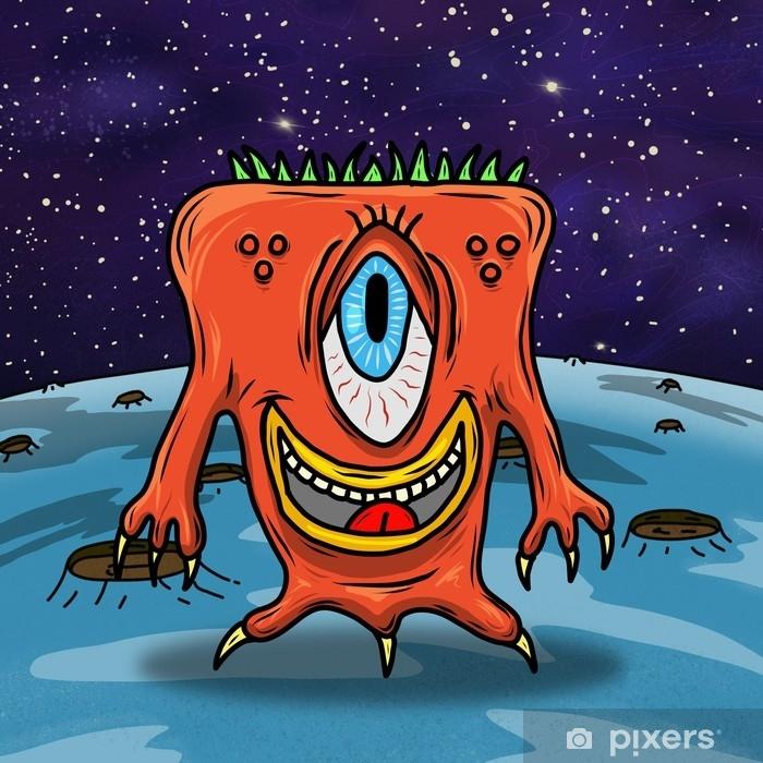 Alfombrilla de baño Loco extraterrestre extraño o monstruo en un planeta azul, asteroide o luna. Ilustración original en color - Animales