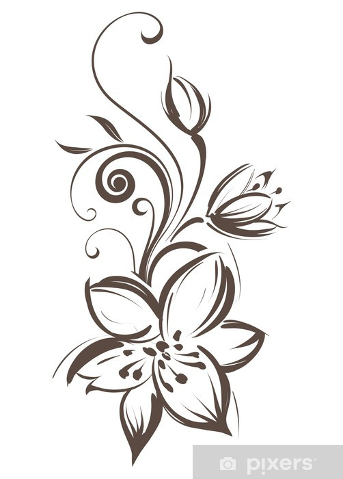 Papier Peint Fleur Stylisee Vecteur Pixers Nous Vivons Pour Changer
