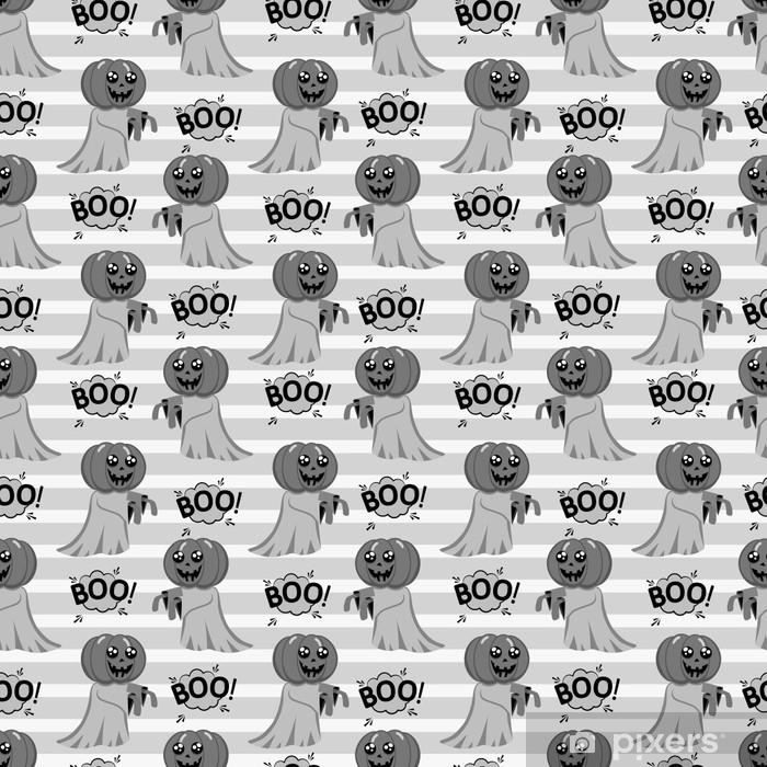 Poster Abstraktes nahtloses Muster für Mädchen oder Jungen. kreativer Vektorhintergrund mit einem hübschen Geist mit einem Kopf anstelle eines Kürbishalloween. lustige Tapete für Textil und Stoff. Modestil. - Grafische Elemente
