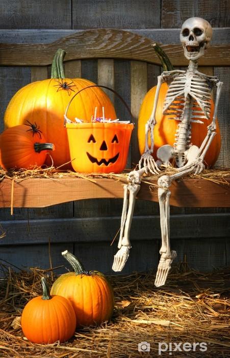 Colorful pumpkins and skeleton on bench Pixerstick Sticker - International Celebrations