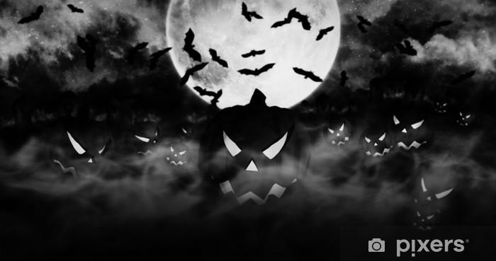 Nálepka Pixerstick Halloween dýně na hřbitově stoupající z mlhy s mraky a měsíc v pozadí 3d ilustrace - Kultura a náboženství