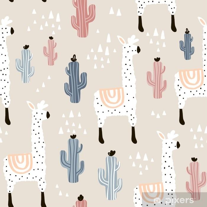 Vinil Duvar Resmi Lamma, kaktüs ve elle çizilmiş öğeleri ile seamless modeli. çocuksu doku. kumaş, tekstil vektör çizim için harika - Grafik kaynakları