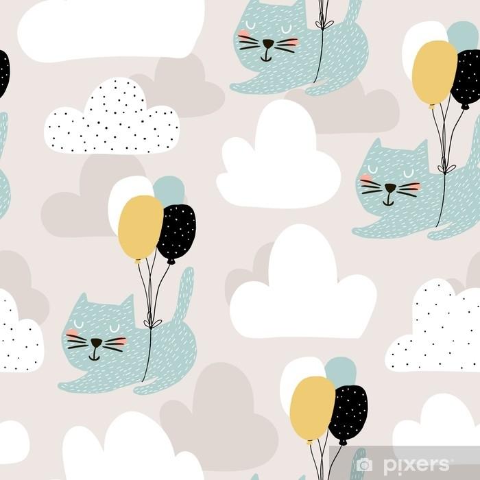 Fotomural Autoadhesivo Patrón infantil sin fisuras con lindos gatos volando con globo. Fondo creativo de guardería. perfecto para niños diseño, tela, envoltura, papel pintado, textil, ropa - Recursos gráficos