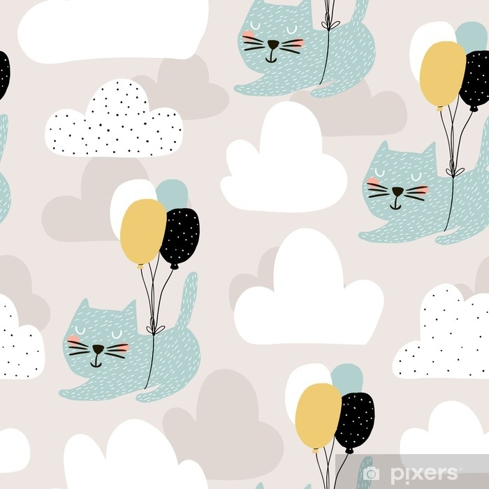 Seamless childish pattern with cute cats flying with balloon. Creative nursery background. Perfect for kids design, fabric, wrapping, wallpaper, textile, apparel Self-Adhesive Wall Mural - Graphic Resources