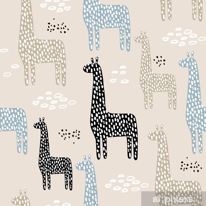 Poster Modèle sans couture avec girafe. texture enfantine pour tissu, textile. fond de vecteur - Ressources graphiques