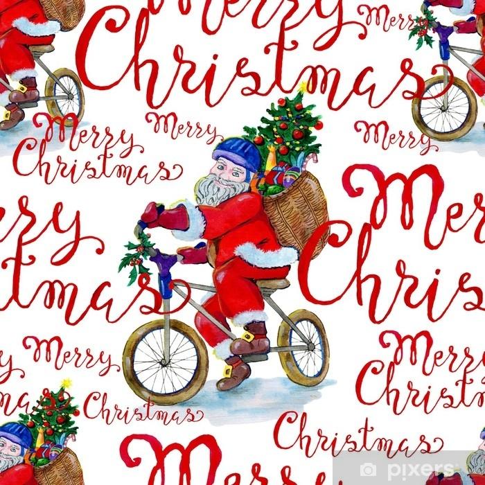 Sticker Pixerstick Modèle de Noël avec le père Noël en vélo et lettrage sur fond blanc - Culture et religion