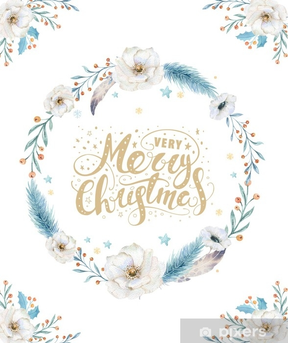 Adesivi Buon Natale.Adesivo Buon Natale Carte Acquerello Con Elementi Floreali Felice Anno Nuovo Lettering Poster Decorazione Di Corona Di Fiori E Rami Di Natale