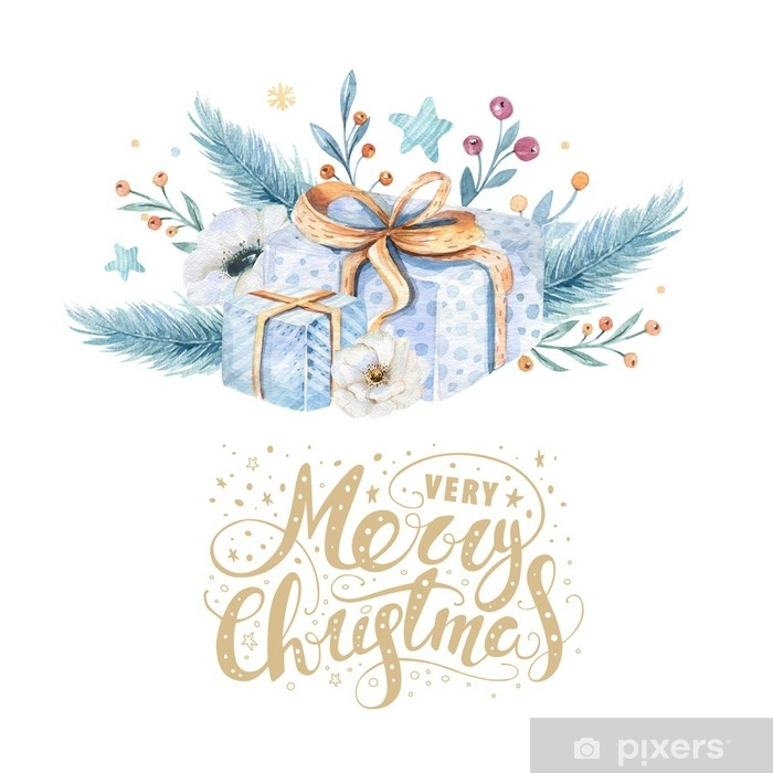 Merry Christmas watercolor cards with floral elements. Happy New ...