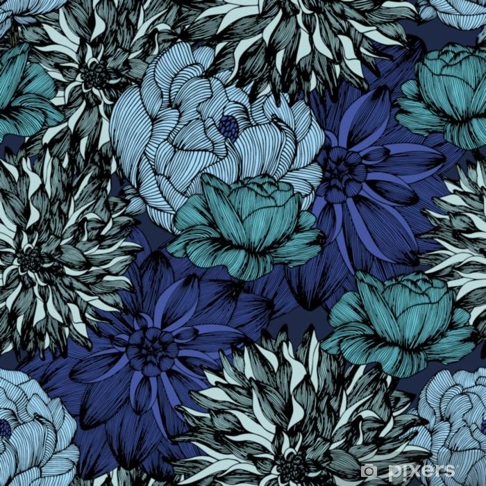 Pixerstick-klistremerke Vektor sømløs mønster med komplekse detaljerte farger. håndtegning - Planter og Blomster