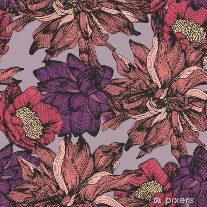 Decoratief sierkussen Vector naadloos patroon met complexe gedetailleerde kleuren. handtekening - Bloemen en Planten