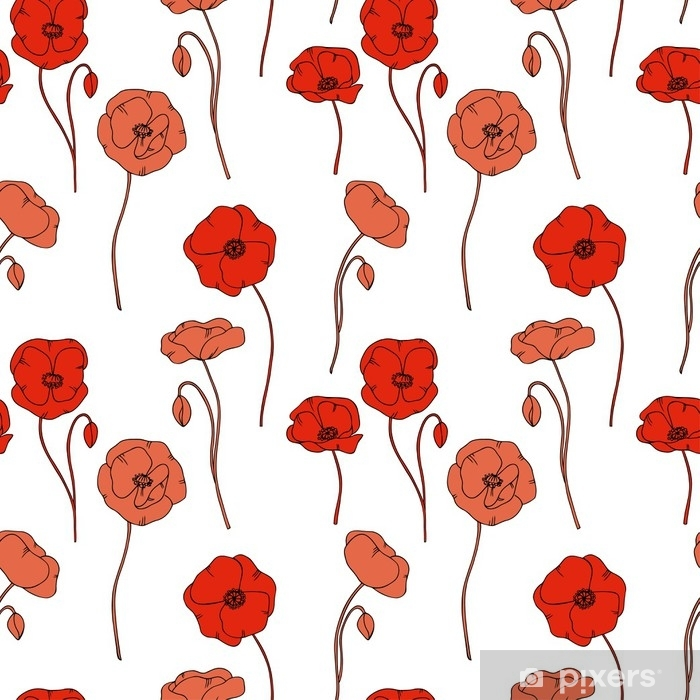 Color Vector Simple Illustration Of Decorative Poppy Flower Pattern On White Background Vinyl Wall Mural