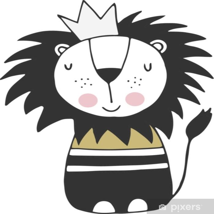 Fototapeta winylowa Ładny ręcznie rysowane plakat przedszkola z królem lwów w skandynawskim stylu. monochromatyczne ilustracji wektorowych - Zwierzęta