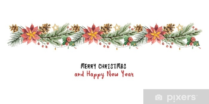 Christmas Banner.Watercolor Vector Christmas Banner With Fir Branches And Flower Poinsettias Wall Mural Vinyl