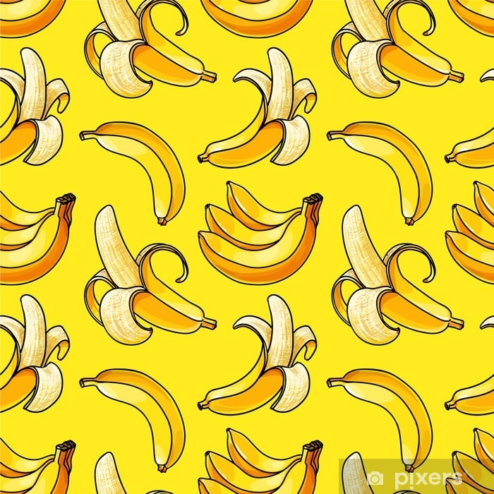 Sticker Pixerstick Modèle sans couture de banane. fond de couleur jaune - Ressources graphiques