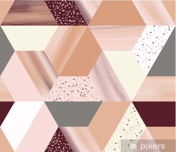 Pixerstick Sticker Luxe geometrie zeshoekige abstracte naadloze patroon in roze goud / beige thema met glitters - Grafische Bronnen