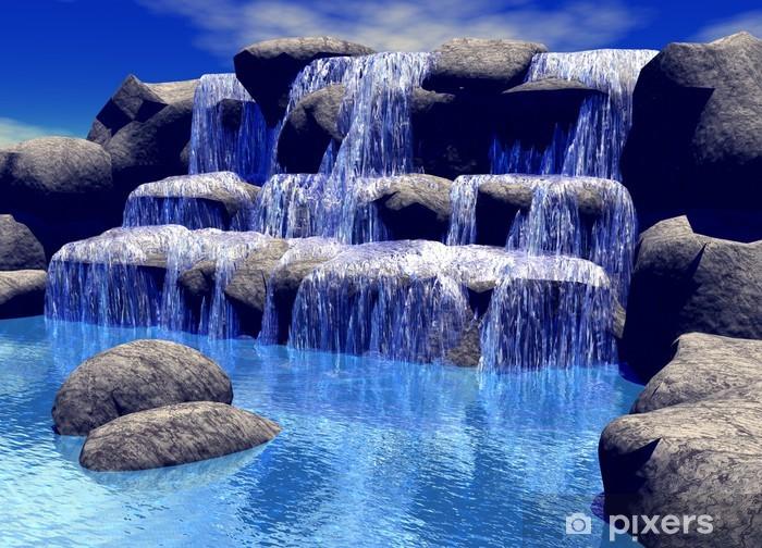 3d waterfall Pixerstick Sticker - Styles