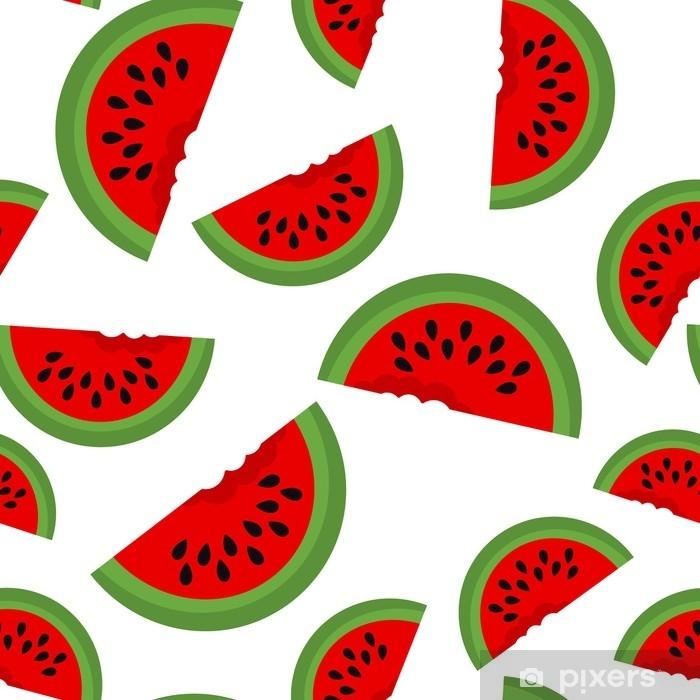 Fototapet av vinyl Sømløs bakgrunn med vannmelonskiver. vektor illustrasjon. design for gratulasjonskort og invitasjon av sesongens sommerferie - Mat