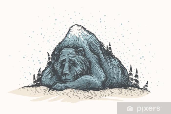 Anna sen lunta. söpö ja ihastuttava kädenvärinen esimerkki vanhan nukkumassaan näyttää vuorelta metsään. metsän karhu, talvi-tunnelma, joulukortti. kausiluonteiset tervehdykset. Pixerstick tarra - Eläimet