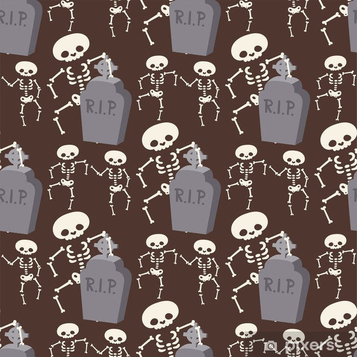 Halloween skeleton seamless pattern background night rip party trick or treat candies vector illustration. Vinyl Wall Mural - Culture and Religion