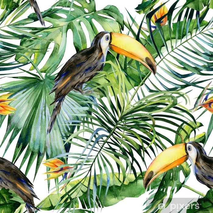 Seamless watercolor illustration of toucan bird. Ramphastos. Tropical leaves, dense jungle. Strelitzia reginae flower. Hand painted. Pattern with tropic summertime motif. Coconut palm leaves. Pixerstick Sticker - Plants and Flowers