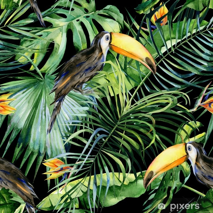 Seamless watercolor illustration of toucan bird. Ramphastos. Tropical leaves, dense jungle. Strelitzia reginae flower. Hand painted. Pattern with tropic summertime motif. Coconut palm leaves. Pixerstick Sticker - Animals