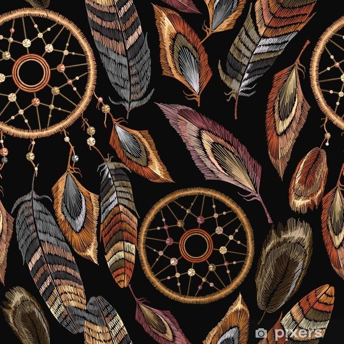 Mural de Parede em Vinil Bordado dreamcatcher boho padrão sem costura. nativo americano indiano talisman dreamcatcher. estilo étnico de roupas. roupas de design modelo elegante. Padrão de penas tribais mágicas, design de t-shirt - Estilo de Vida