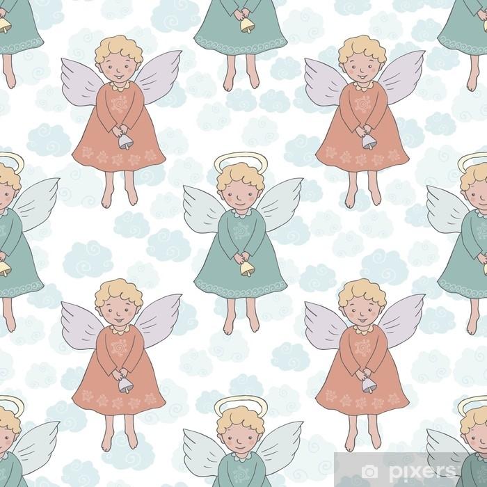 Papier peint vinyle Modèle sans couture de Noël avec des anges mignons avec cloche - Ressources graphiques