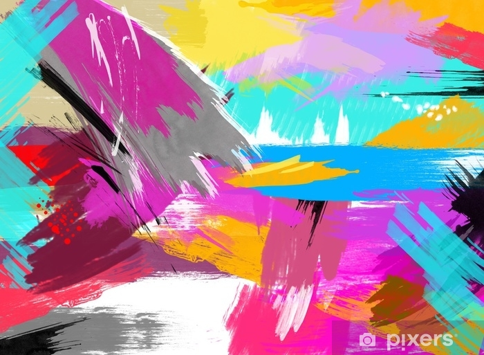 Abstract Painting Bright Colors Wall Mural Vinyl