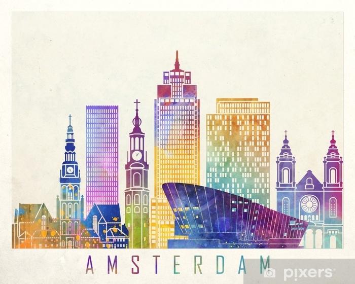 Amsterdam landmarks watercolor poster Vinyl Wall Mural - Landscapes