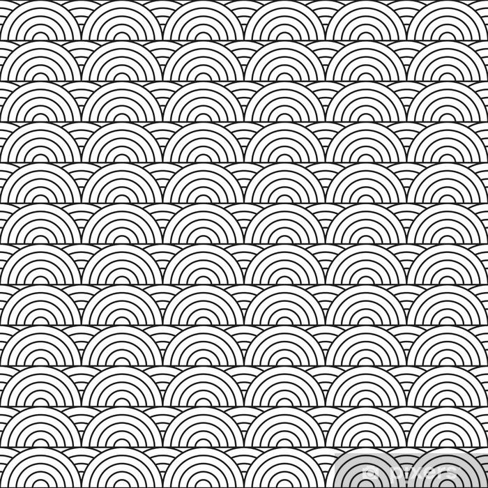 Bord- og skrivebordsklistremerke Stilisert sømløs mønster laget av svart linjebue med rett linje - Grafiske Ressurser