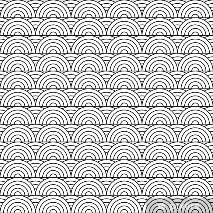 Stylized seamless pattern made of black line arc with straight line Washable Wall Mural - Graphic Resources