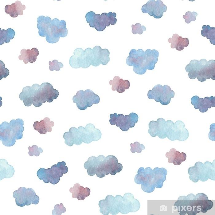 142355df722d Fototapet av Vinyl Sömlöst mönster av mjuka blå moln målade i akvarell.