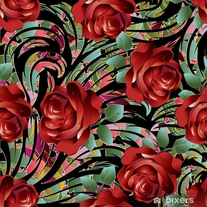 Mural De Parede Em Vinil Padrão Sem Costura De Rosas Vermelhas 3d Ilustração Floral Do Papel De Parede Do Fundo Do Vetor Com Flores Desenhadas Mão Do