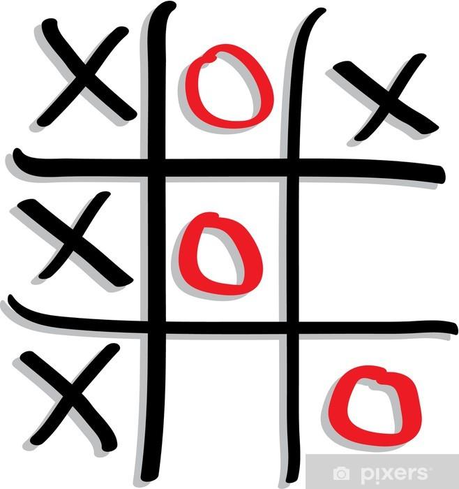 Aufkleber Spielen Das Spiel Tic Tac Toe Mit Roten Und Schwarzen Zeichen Pixerstick