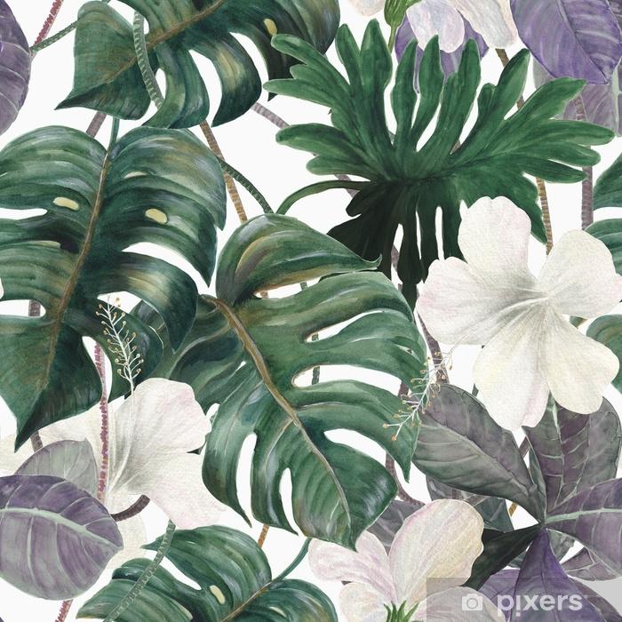 Egzotik Bitkiler Ile Sulu Boya Dikissiz Tropikal Desen Palmiye Ve