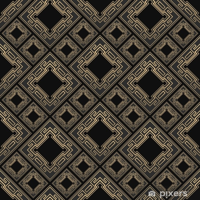 Seamless pattern in Art Deco style. Black and golden tilework. Diamond tiles. Luxury background. Vinyl Wall Mural - Graphic Resources