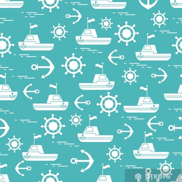 Pixerstick Aufkleber Süßes nahtloses Muster mit Schiffen, Lenkrädern, Ankern, Fahnen. marine Thema. - Grafische Elemente
