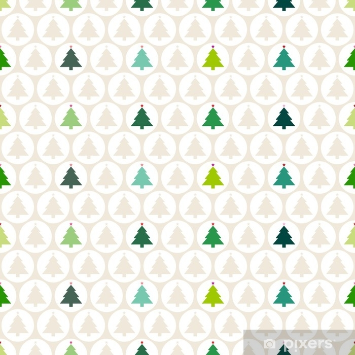 Vinylová fototapeta Bezešvé vzor vánoční stromky míče béžová / zelená - Vinylová fototapeta