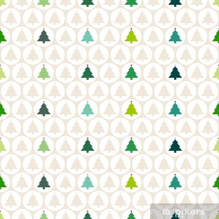 Nálepka Pixerstick Bezešvé vzor vánoční stromky míče béžová / zelená - Kultura a náboženství