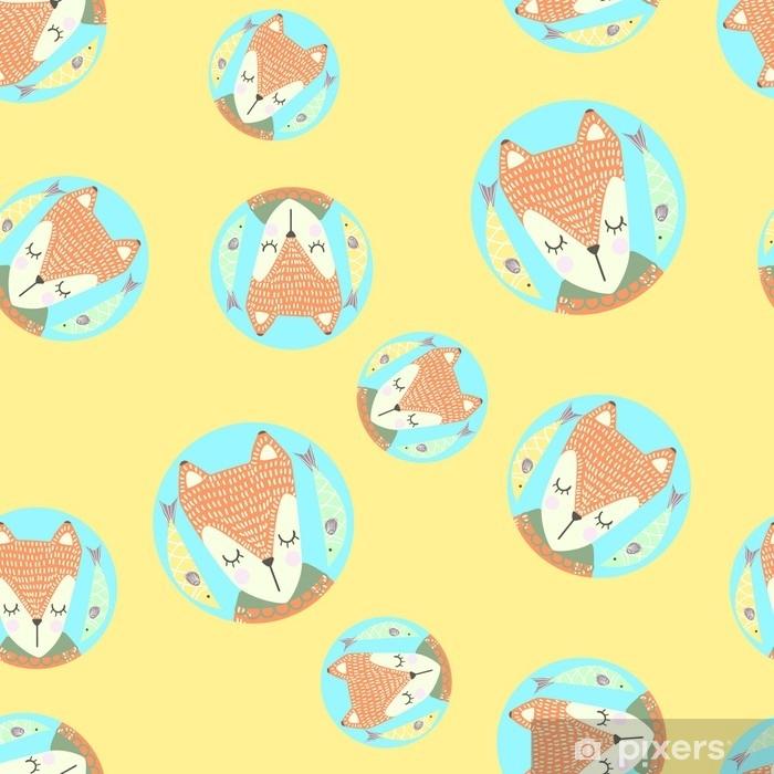 sticker modele sans couture scandinaves avec des renards et des feuilles design finlandais style nordique il peut etre utilise comme fond d ecran bureau impression emballage tissu ou arriere plan pour votre blog vos