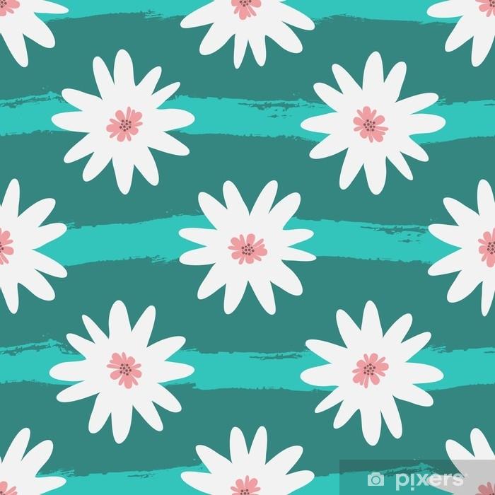 Vinilo Pixerstick Flores Blancas Abstractas En Un Fondo Rayado De La