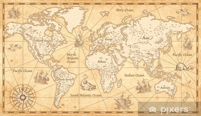 Vintage Illustrated World Map Pixerstick Sticker - Travel