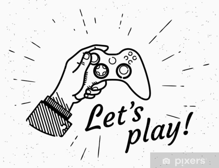 Vinyl Fotobehang Laten we spelen game console retro illustratie van vintage gestileerde menselijke hand houdt play station. vintage design met handgeschreven hipster typografie op grunge achtergrond met zon burst-stralen - Eten