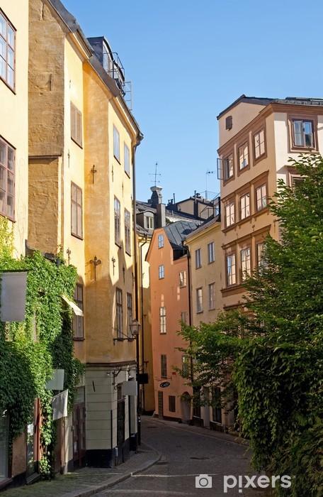 Çıkartması Pixerstick Stockholm merkezindeki eski sokak - Avrupa