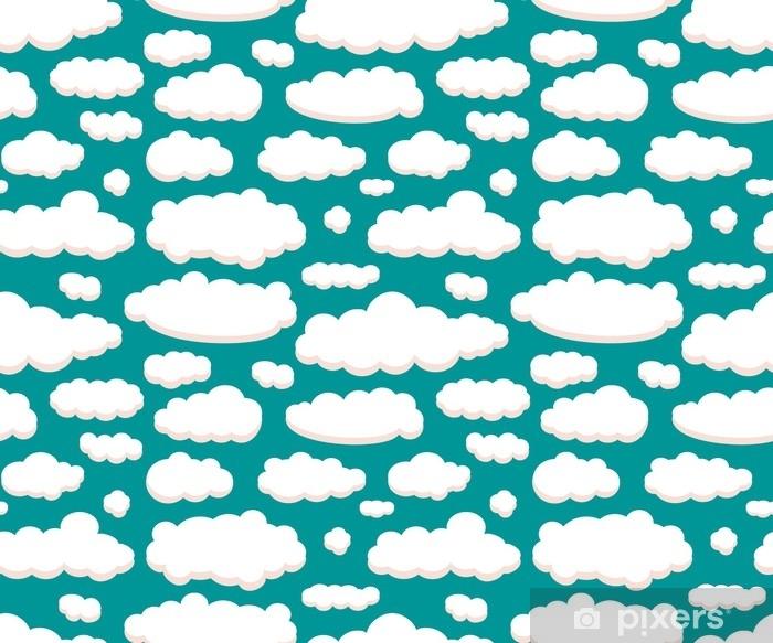 Plakat Chmury na zielonym niebie bezszwowe tło wzór do projektowania. projekt graficzny do sieci, drukowania lub szablonu. ilustracji wektorowych - Krajobrazy