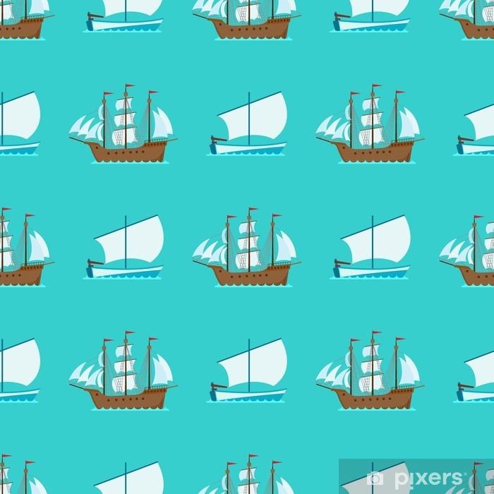 Sticker Pixerstick Bateau croiseur bateau mer modèle sans soudure navire voyage industrie vecteur voiliers ensemble de croisière de fond marin. - Transports