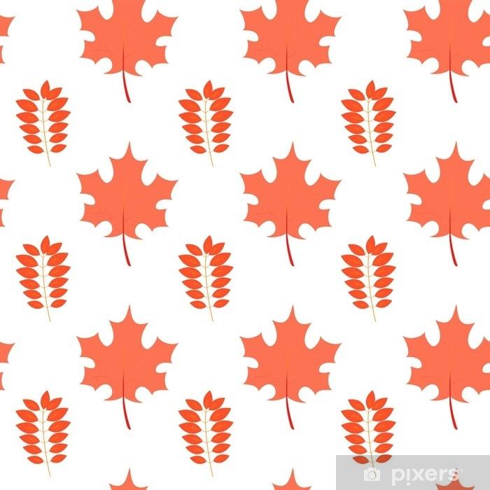 Plakát Vektor bezešvé vzor s javorovým a popel listy v podzimních barvách. eps10. lze použít jako tisk na oblečení, balicí papír, web, designové bannery. podzimní pozadí. - Rostliny a květiny