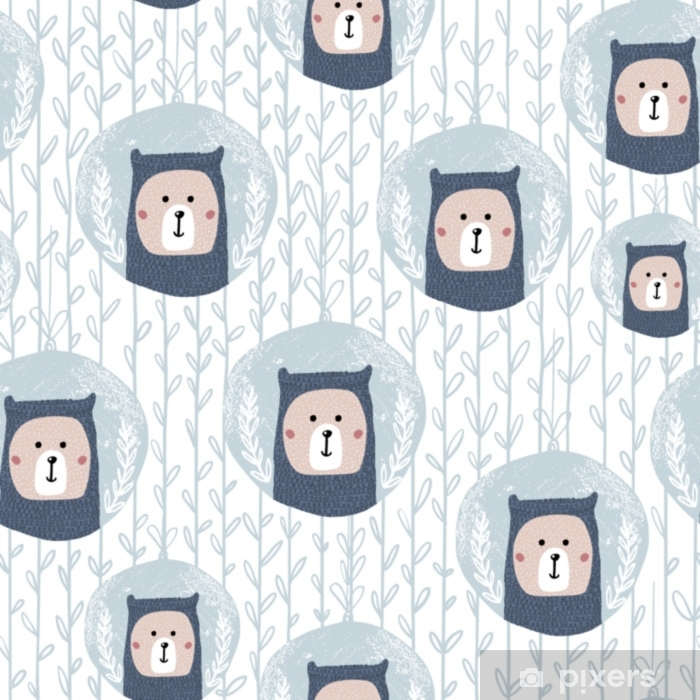 Fototapeta winylowa Bezszwowy wzór z słodkim niedźwiedziem w bożych narodzeniach bal.perfect dla świątecznej zimy tkaniny, textile.vector tło - Zasoby graficzne