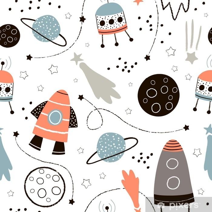 76c74244f Fototapet av vinyl Barnslig sømløs mønster med håndlaget romelementer  plass, rakett, stjerne, planet, romprobe. trendy kids vektor bakgrunn.
