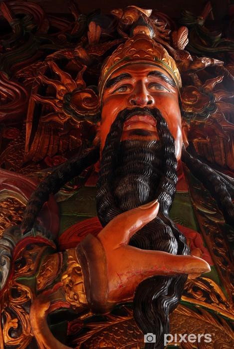 Adesivo La statua scultura in legno di Dio cinese ...